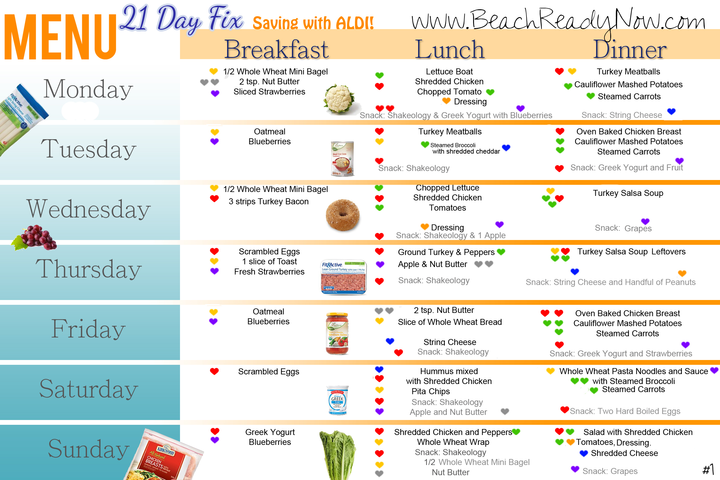 21 day fix aldi meal plan and shopping list beach ready now