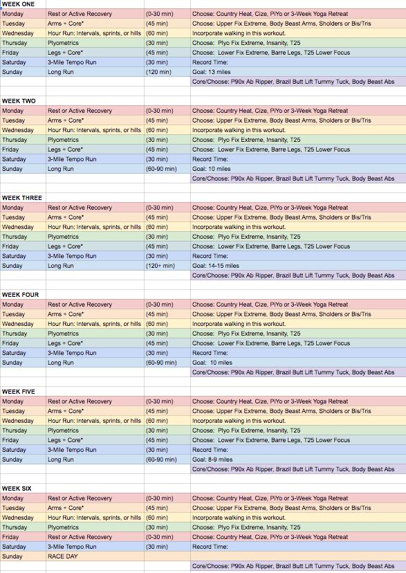 Half Marathon Training Schedule + Beachbody Hybrid