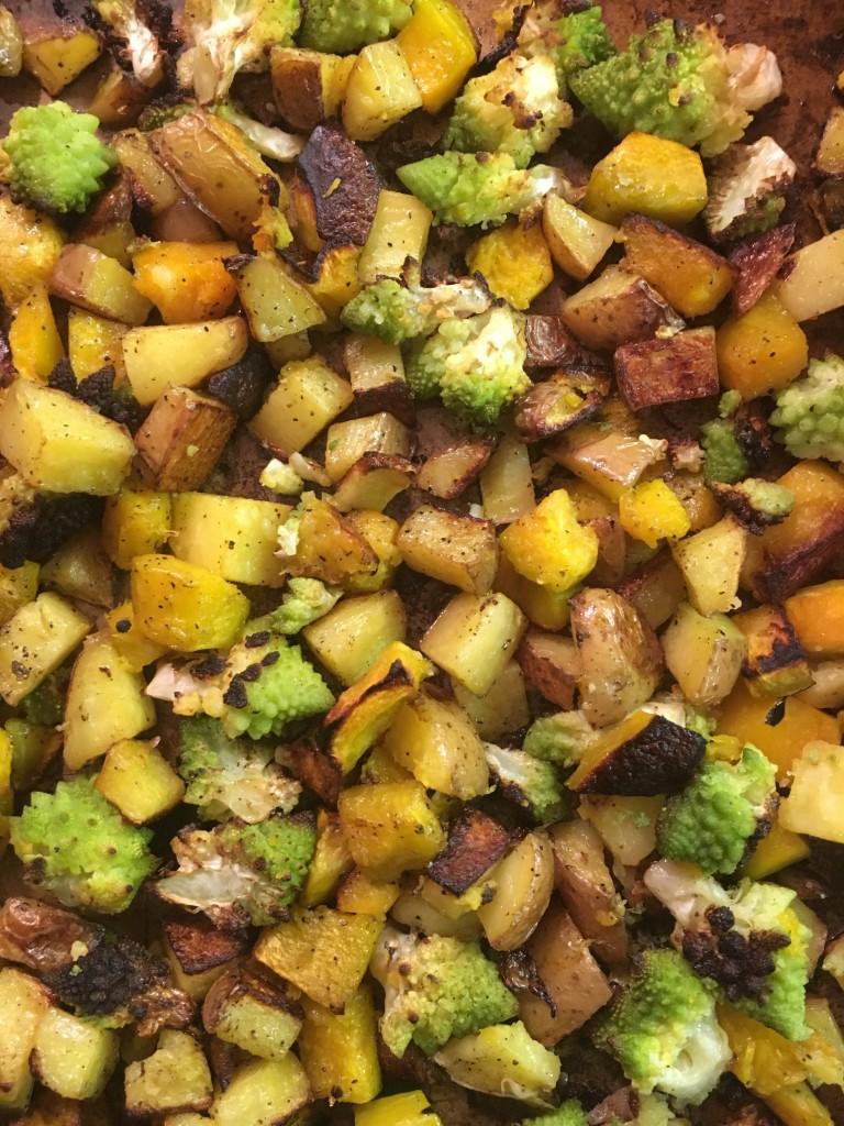 roasted acorn squash and broccoli